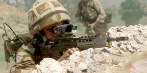 British troops practice attack drills during exercises in Oman. U.S. and U.K. researchers have teamed with industry and academia to develop better technologies for future coalition forces.