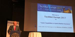 Swedish Defense Minister Peter Hultqvist addresses the audience at TechNet Europe 2017 in Stockholm.