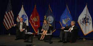 (l-r) Gordon R. England, former secretary of the Navy; Ellen Lord, president and CEO, Textron Systems Corporation; and Jerry DeMuro, president and CEO, BAE Systems, discuss the challenges of defense information technology acquisition at West 2015.
