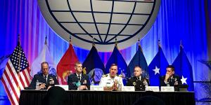 Military panelists discuss the government's cyber mission during AFCEA's Defensive Cyber Operations Symposium.