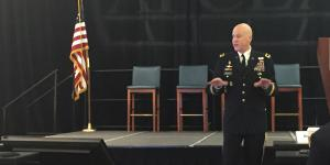 Maj. Gen. John B. Morrison Jr., USA, commanding general, U.S. Cyber Center of Excellence and Fort Gordon, Georgia, offers welcoming remarks at AFCEA's first Cyber Education, Research and Training Symposium.