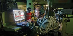 A soldier looks at intelligence data via the Distributed Common Ground System. The NRO's Future Ground Architecture aims to revolutionize the capabilities of NRO assets available to ground users.