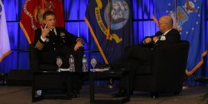 Adm. Michael Rogers, USN (l), and Adm. James Stavridis, USN (Ret.), discuss national security issues during day three of the West 2017 conference in San Diego. Photo by Mike Carpenter