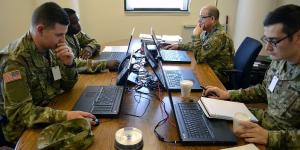 Soldiers of the U.S. Army Cyber Protection Brigade (CPB) conduct defensive cyberspace operations in August at the National Training Center at Fort Irwin, California. Elements of U.S. Army Cyber Command (ARCYBER) are participating in a training rotation as part of the ongoing ARCYBER-led Cyber Support to Corps and Below pilot program.