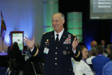 Lt. Gen. Alan Lynn, USA, director of the Defense Information Systems Agency and commander, Joint Force Headquarters–Department of Defense Information Networks, addresses cyber-based network issues at MILCOM 2016 in Baltimore. Photos by Mike Carpenter