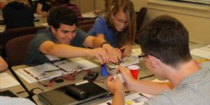 U.S. Army engineers expose high school students to science-related career paths through advanced classroom instruction and hands-on experiments as part of the Gains in the Education of Mathematics and Science program, which highlights power, energy and cyber curriculums.