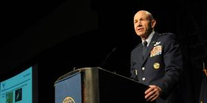 Lt. Gen. James Holmes, USAF, deputy chief of staff for strategic plans and requirements for the Air Force, talks about the rise of Russian and Chinese military and technological advancements that threaten U.S. superiority in both air and cyberspace during AFCEA's TechNet Air symposium in San Antonio.