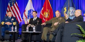 Service chiefs (l-r) from the U.S. Coast Guard, Navy and Marine Corps discuss critical issues they are confronting. Photo by Michael Carpenter