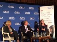 Michelle Dennedy (r), chief privacy officer for Intel Security, talks about a new program to teach children safe cyberpractices in partnership with Discovery Education, led by Bill Goodwyn, (c). Penny Baldwin, CMO of Intel Security, moderated the discussion.