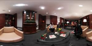 A panoramic camera view shows the room setup before conversations are recorded for REVEAL 360 Degrees, a joint immersive learning research project conducted by the University of Maryland Center for Advanced Study of Language and the university's Institute for Advanced Computer Studies.