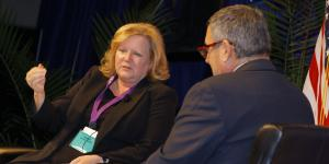 Acting federal Chief Information Officer Margie Graves and Alfred Rivera, director of DISA's Development and the Business center, discuss cyber at AFCEA's Defensive Cyber Operations Symposium.