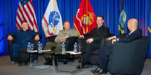 The heads of the three U.S. sea services (from l)—Adm. Paul F. Zukunft, USCG, Gen. Robert B. Neller, USMC, and Adm. John M. Richardson, USN—discuss the challenges they face in a town hall session moderated by Adm. James G. Stavridis, USN (Ret.), at West 2018.  Michael Carpenter