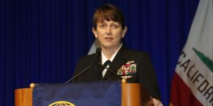 Vice Adm. Jan Tighe, USN, commander, Fleet Cyber Command and commander, Tenth Fleet, provides perspective on Navy cyber at West 2015.
