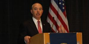 Deputy Secretary of the Department of Homeland Security Alejandro Mayorkas speaks at the Homeland Security Conference. Photo by Mike Carpenter
