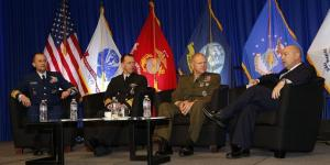 Key sea service leaders comparing perspectives in a town hall format are (l-r) Vice Adm. Charles D. Michel, USCG, vice commandant, U.S. Coast Guard; Adm. John M. Richardson, USN, CNO; Gen. Robert B. Neller, USMC, commandant, U.S. Marine Corps; and moderator Adm. James Stavridis, USN (Ret.), dean, The Fletcher School of Law and Diplomacy.