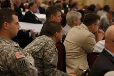 Attendees listen to keynote addresses during the third annual AFCEA International TechNet Augusta conference, which wraps up Thursday. Photo by Mike Carptenter