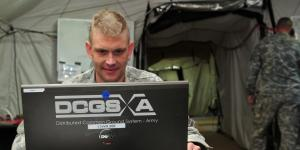 A soldier uses the Distributed Common Ground System-Army (DCGS-A) in a tactical operations center. Feedback from users, combined with technological advances, is fueling upgrades that offer vast improvement in system performance.