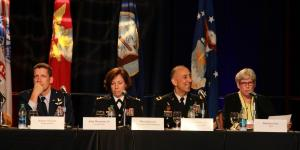 "Participating in the panel session ""Building and Securing the Cyber Mission Force"" at AFCEA's TechNet Augusta 2016 are (l-r) Brig. Gen. Robert J. Skinner, USAF, deputy commander, Joint Force Headquarters Department of Defense Information Network; Brig. Gen. Maria B. Barrett, USA, deputy commanding general, Joint Force Headquarters–Cyber; Brig. Gen. Welton Chase Jr., USA, commanding general, 7th Signal Command (Theater); and moderator Maj. Gen. Barbara Fast, USA (Ret.), senior vice president, CGI."