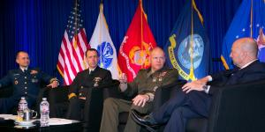 Adm. James G. Stavridis, USN (Ret.), dean of The Fletcher School of Law and Diplomacy at Tufts University and former NATO supreme allied commander Europe (r), hosts a luncheon town hall with (2nd from r-l) Gen. Robert B. Neller, USMC, commandant, U.S. Marine Corps; Adm. Richardson; and Vice Adm. Charles D. Michel, USCG, vice commandant, U.S. Coast Guard.