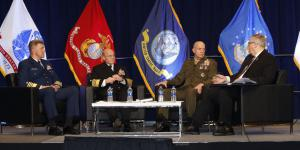 At WEST 2020, the sea service chiefs discuss the impact of the coronavirus on operations. Photo by Michael Carpenter