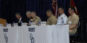 Panelists discuss acquisition and requirements at WEST 2020. Photo by Michael Carpenter