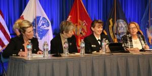 Women share stories of hurdles and triumphs at the Women in Cyber panel at West 2017. Photo by Mike Carpenter