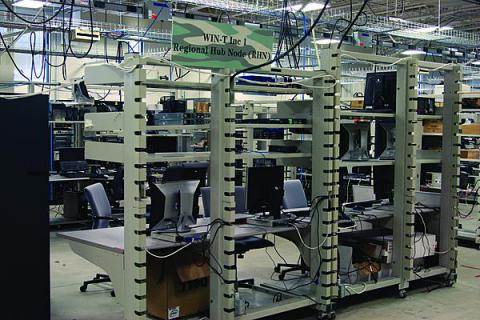 Racks of gear provide Warfighter Information Network-Tactical (WIN-T) capability for the JOIN facility. The network can debug software upgrades as well as resolve interoperability issues.