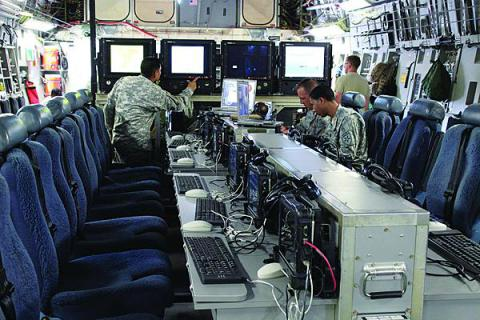 The full Joint Airborne Command and Control/Command Post (JACC/CP) system features work stations and includes a Microsoft Window-based computer tablet and four large monitors for viewing relevant information, data feeds or a common operating picture. The JACC/CP can be rolled on/rolled off a C-17 aircraft for a quick initial setup.