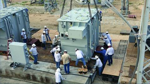 The modular design of the RecX prototype transformer speeds transportation, and installation, at the CenterPoint Energy substation in Houston.  (Photo: DHS.)