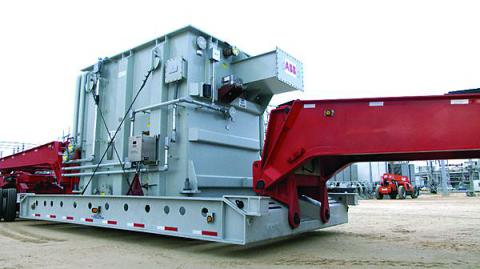 One module of the RecX transformer travels on a specially designed cradle towed by a tractor trailer. This allows the transformer to be hauled quicker to its desired location, saving money. (Photo: DHS)