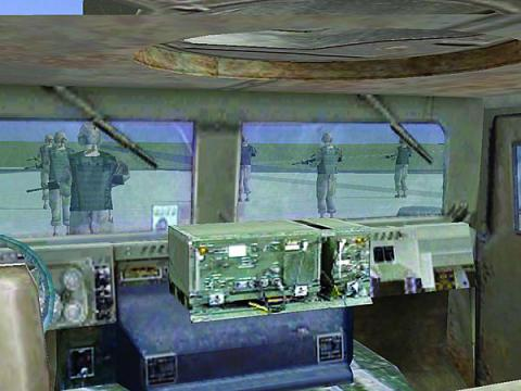 A drawing shows a radio system deployed in the field while the adjoining photograph shows engineers emulating upgrades on the same system in a lab setting.