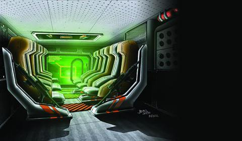 This rendering proposes a virtual window screen across the rear ramp of an armored vehicle. It would give troops riding in the vehicle a critical picture of their surroundings, which they currently lack.