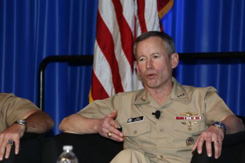 Adm. Ted Branch, USN, the deputy chief of naval operations for information dominance and intelligence, discusses cyberspace issues during a keynote panel on the second day of West 2014.