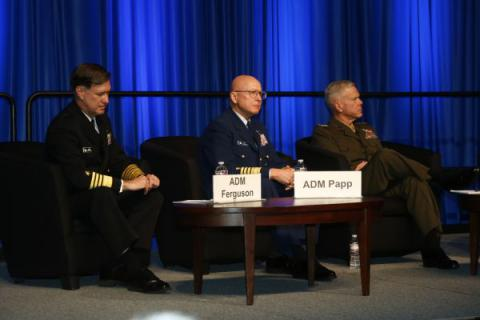 (l-r) Adm. Mark E. Ferguson, USN, vice chief of naval operations; Adm. Robert J. Papp Jr., USCG, U.S. Coast Guard Commandant; and Gen. James F. Amos, USMC, commandant of the U.S. Marine Corps, discuss vital needs of the three sea services on the final day of West 2014 in San Diego.