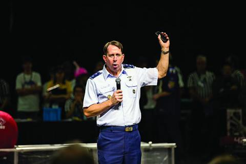 Maj. Gen. Jack Shanahan, USAF, commander, U.S. Air Force ISR Agency, extols the virtues and necessity of technology education to high school students at the Alamo First Robotics Competition.