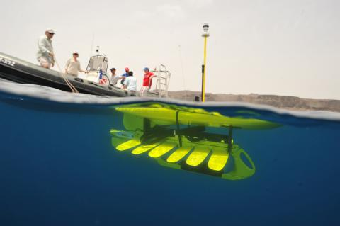 A Wave Glider SV2 moments before deployment.