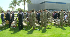 Warfighters attend the historic redesignation ceremony of the U.S. Space Force's new Space Systems Command August 13 at Los Angeles Air Force Base.