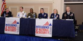 "A row of service intelligence chiefs describes today's threats and needed solutions in a panel chaired by (far l) Vice Adm. Jake Jacoby, USN (Ret.). The panelists are (l-r) Vice Adm. Matthew Kohler, USN; Brig. Gen. Dmitri Henry, USMC; Rear Adm. Robert Hayes, USCG;Lt. Gen. VeraLinn ""Dash"" Jamieson, USAF; and Lt. Gen. Scott Berrier, USA. Photography by Herman Farrer"