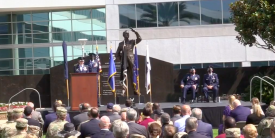Lt. Gen. Michael Guetlein, USSF, commander, Space Systems Command, pictured at the podium during the official stand up ceremony of the U.S. Space Force's new Space Systems Command August 13, takes the reins as the command's first leader.