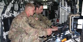 From l-r, U. S. Army Sgt. Cody Conklin of the 4th Infantry Division from Ft. Carson, Colorado, and Sgt. Carl Higgins, USA, of the Intelligence, Information, Cyber, Electronic Warfare and Space, or I2CEWS, formation from Joint Base Lewis McCord, WA, detect and mitigate adversarial radio signals during Cyber Blitz 19. The I2CEWS have made good progress since then, in integrating advanced capabilities for multidomain operations. Credit: U.S. Army Combat Capabilities Development Command by Edric Thompson