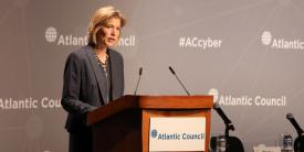 The FBI's Cyber Division is strengthening its investigative capabilities to battle more and more digital-based crimes from global adversaries, says Amy Hess, executive assistant director of the FBI's Criminal, Cyber, Response, and Services Branch. Credit: Atlantic Council/Image Link