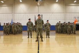 U.S. Army soldiers from the then newly activated Intelligence, Information, Cyber, Electronic Warfare and Space Detachment, known as I2CEWS, stand during a ceremony in January 2019 at Joint Base Lewis McChord, Washington. The service has since grown the I2CEWS to a Battalion and is fielding them important electronic warfare tools. Credit: U.S. Army photo