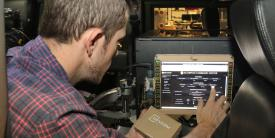 C5ISR Center computer scientist Zach Kjellberg tests position, navigation and timing (PNT) system at Aberdeen Proving Ground, Maryland. The center is developing new PNT technologies in support of Army modernization efforts. Credit: Dan Lafontaine, CCDC C5ISR Center PAO