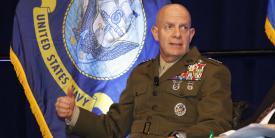 Gen. David H. Berger, USMC, commandant, U.S. Marine Corps, addresses the WEST audience. Photo by Michael Carpenter