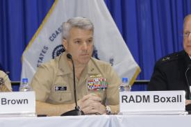 Rear Adm. Ronald Boxall, USN, director, Surface Warfare, paticipates in a West 2019 panel discussion. Photo by Michael Carpenter