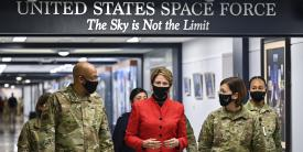 In this image from December 2020, former Secretary of the U.S. Air Force, Barbara Barrett, walks with Air Force Chief of Staff, Gen. Charles Brown, before a ceremony unveiling the newly decorated Space Force hallway at the Pentagon. Photo courtesy U.S. Air Force