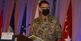Lt. Gen. Stephen Fogarty, USA, commander, U.S. Army Cyber Command, addresses the audience at TechNet Augusta 2021. Photo by Michael Carpenter
