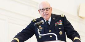 Lt. Gen. Lt. Gen. Otto J. Guenther, USA (Ret.) was a proud supporter and mentor of the Green Terror Battalion at McDaniel College, where he served on the Board of Trustees since 2006 and was named chair in 2019. Here he is addressing attendees at the Green Terror Battalion ROTC Commissioning Ceremony in 2017. Photo courtesy of McDaniel College