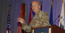 Lt. Gen. John Morrison, USA, deputy chief of staff, G-6, speaks at TechNet Augusta 2021. Photo by Michael Carpenter
