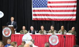 Leaders from the Marine Corps Systems Command present technology needs to the industry at the recent Modern Day Marine event in Quantico, Virginia.